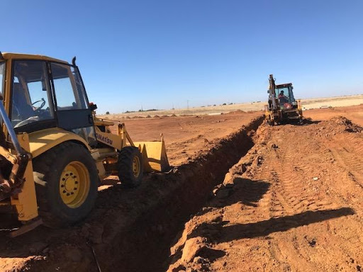 Excavation for electrical cables in Ext 7