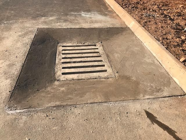 New design for a stormwater catch pit, profile streamlined to properly catch runoff water, Ext 5