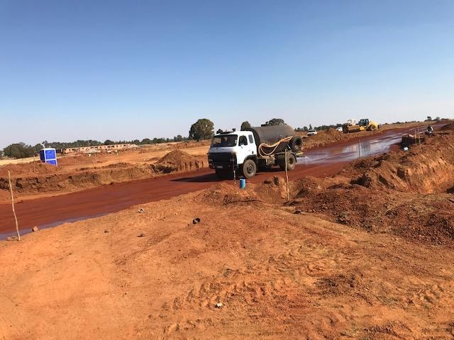 Watering a road pavement layer in Ext 7