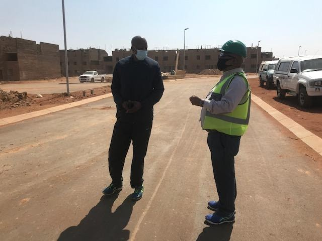 Mr Thabo Kubu (right) with the people's poet Mr Mzwake Mbuli, on site 26 August 2020