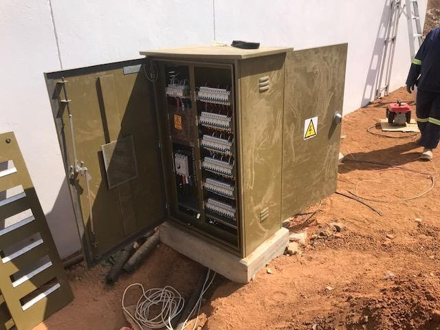 Kiosk kitted with meters supplying power to one of the Blocks.