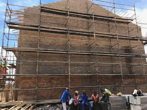 Scaffolding for plastering at B47.