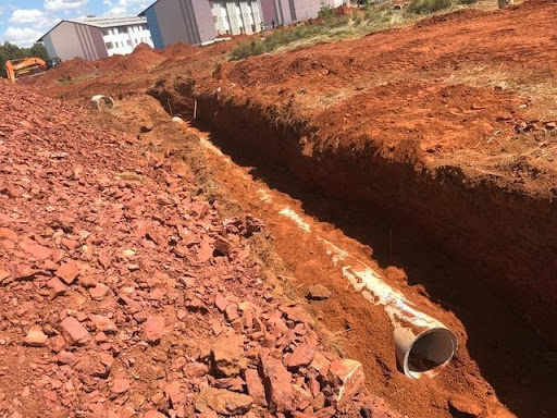 Stormwater pipe installed for the 150 services. Work in progress.