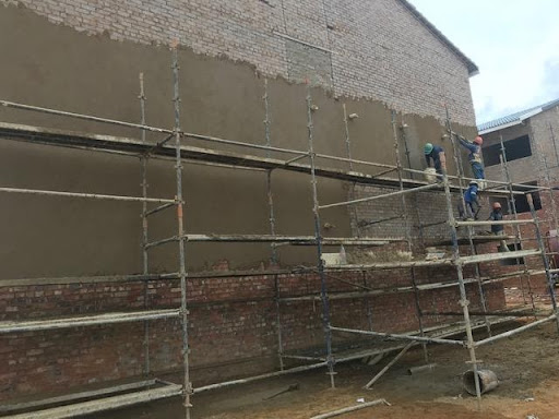 Plastering gable end at a block in Ext 6 earlier in the week.