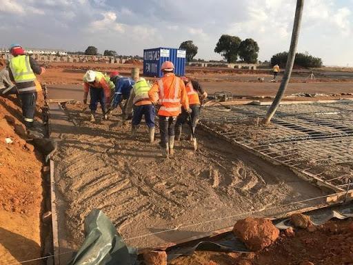 Pouring raft concrete Ext 7